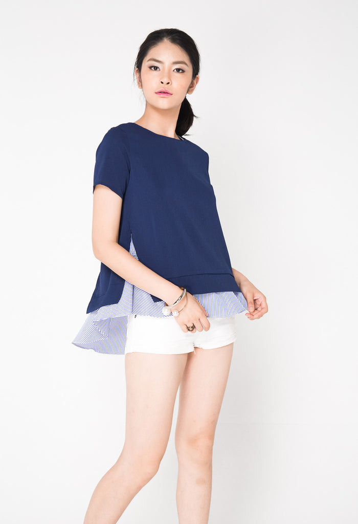 2 Piece Sleeved Top - Blue