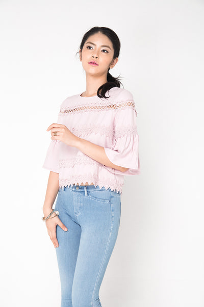 Crochet Sleeve Top - Pink