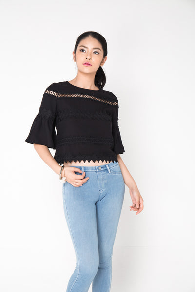 Crochet Sleeve Top- Black