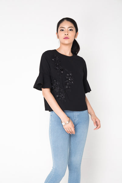 Embroided Sequin Top Black