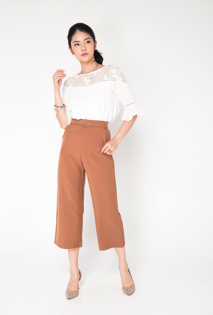 Buckle Culottes Pants - Rust