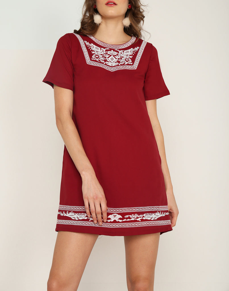 Embroidery Front Dress Red