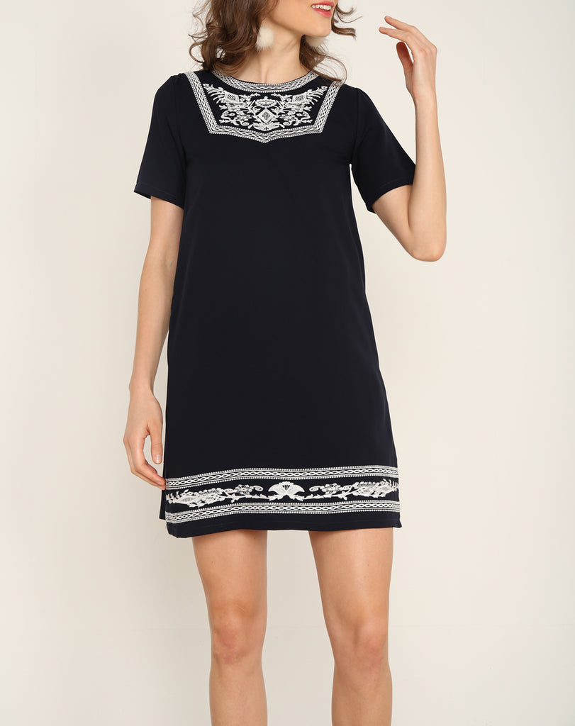 Embroidery Front Dress Navy