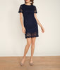 Crochet Shift Dress Navy