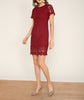 Crochet Shift Dress Wine Red