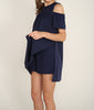 Drop Shoulder Romper Dress Navy