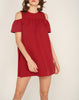 Drop Shoulder Romper Dress Red