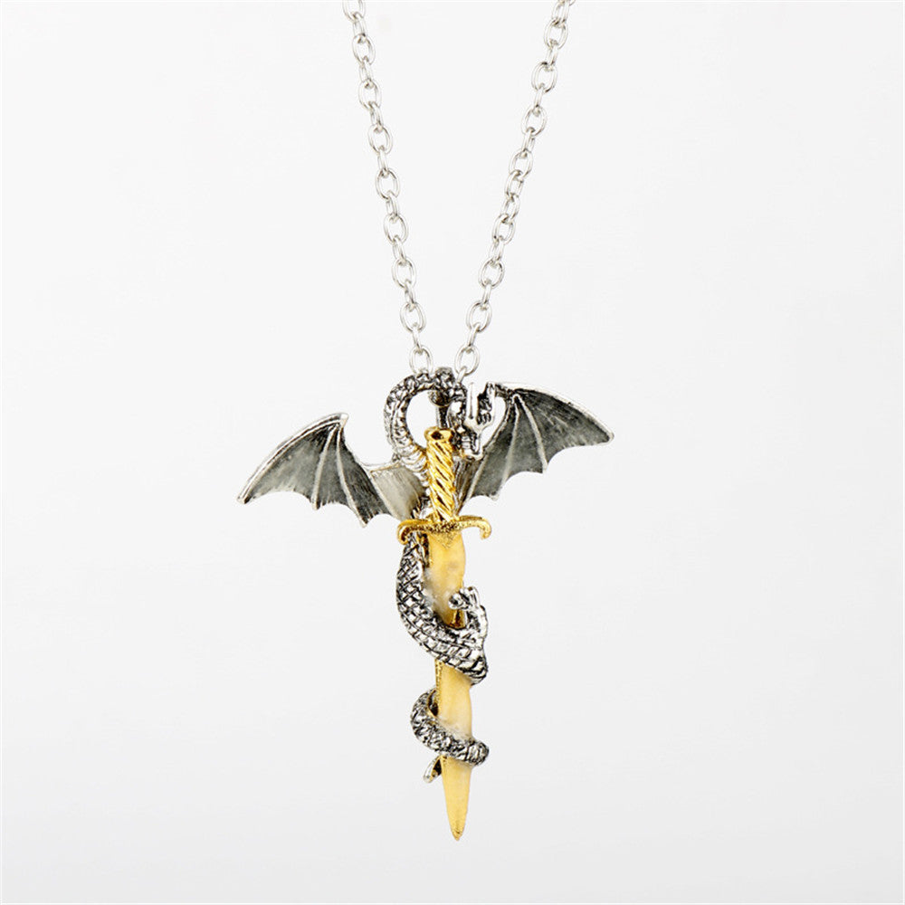 Game of throne dragon sword punk luminous necklace charcle mozeypictures Choice Image