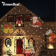 12 Patterns Christmas Laser Snowflake Projector Outdoor LED Waterproof Disco Lights