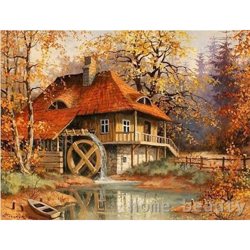 Paint By Numbers Acrylic Oil Painting | Cabin