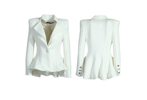 Women White Black Casual Suit One Button Blazer Jacket Swallowtail Style Hot