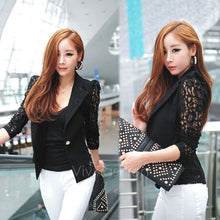 New Women's Elegant Coat Lace Splicing Slim Suits Jacket Coat 2 Colors 2 Sizes VVF
