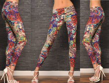 Fashion GYPSY PAISLEY & ROSES LEGGINGS DESIGNER QUALITY BOHO Pants Tights O/S (Size: M, Color: Multicolor)