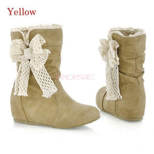 Women's  Warm Comfortable Beige Snow Boots Flat Heel Casual Lace Short Boots  9302 Women's shoes