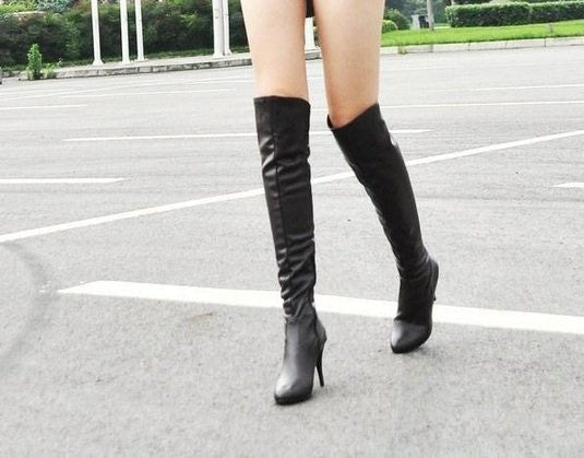 2015 Fashion women high heels knee boots leather brand designer sexy boots