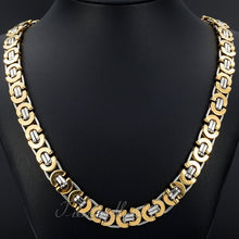 Trendsmax  Mens Chain Flat Byzantine Link Gold Plated Stainless Steel Necklace Fashion Jewelry