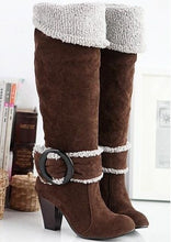 Snow Boots Big size 34-43 Square High Heels Knee High Winter Shoes for Women Sexy Warm Fur Buckle Fashion Boots