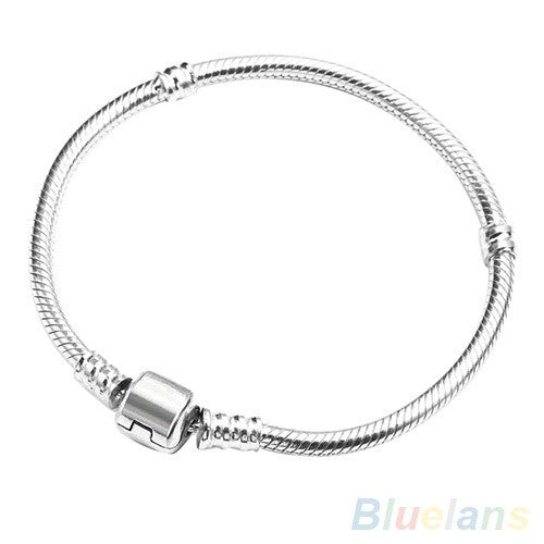 Man's Women's Silver Snake Chain With Barrel Clasp Bead Charms link Bracelet fashion jewelry