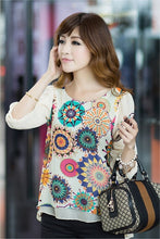 New Women's Retro Short Sleeve Floral Printed Casual Chiffon T-shirt Top Blouse A_L
