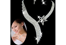 Women Chic Glamor Gemston Crystal Wedding Party Bridal Jewelry Sets Tassel Necklace Earrings (Size: One Size)