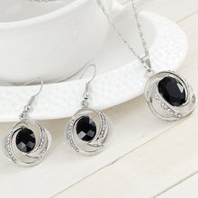 Classic Women Wedding Bridal Jewelry Sets Crystal Black Gemstone Pendant Necklace with Earrings (Size: 39 cm, Color: Black)