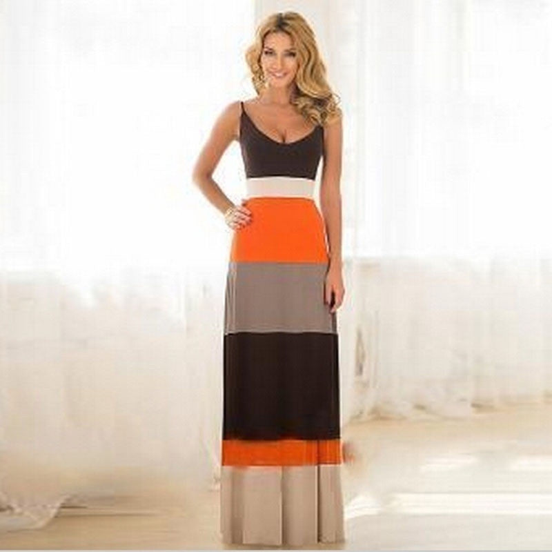 New Women 1 Piece A-line Summer Dress Patchwork V-neck Sleeveless Long Dress