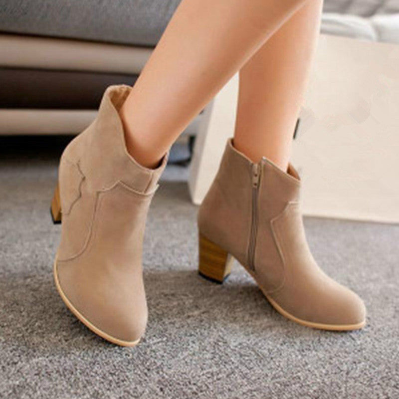 Apricot,Brown,Black Trendy Womens Ladies Winter Riding Ankle Suede Boots Mid heel Fashion Short Boots