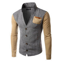 Men's fashion casual stitching collar cardigan sweater coat