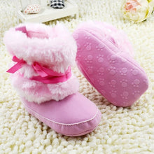 Newborn Baby Girls Bowknot Snow Boots Soft Crib Shoes Toddler Warm Fleece Boots