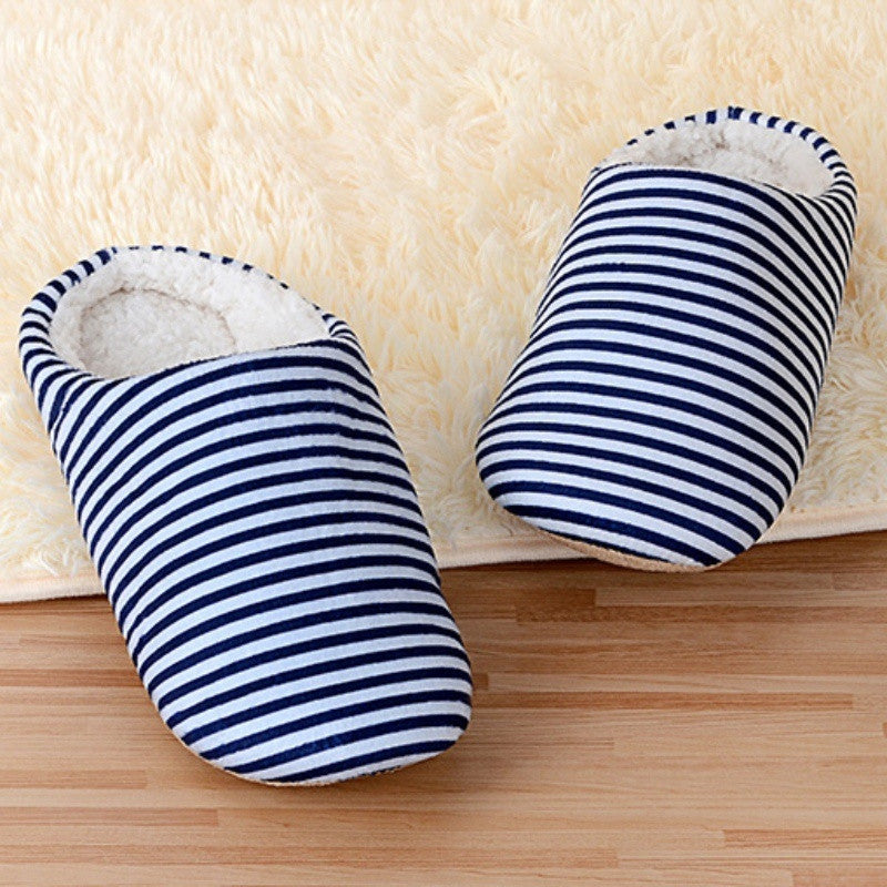 Womens Mens Striped Warm Anti-slip Shoes Soft Cotton Slippers Home Indoor Sandal