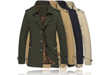 Men's Fashion Winter Warm Fleece Single-breasted Military Sticken Coat Trench Parka Windbreaker Jacket