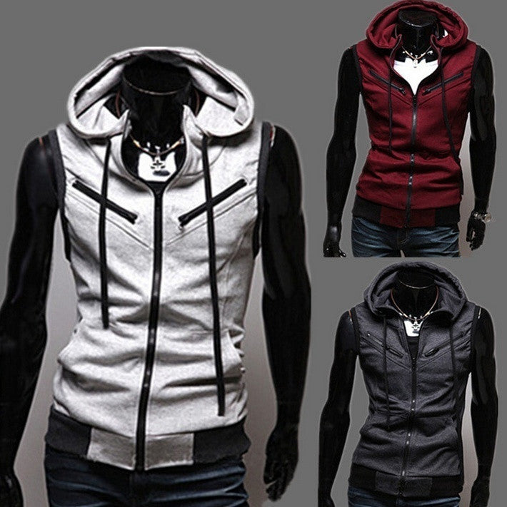 Sleeveless Male Casual Hooded Vest(Red,Grey,Dark Grey)