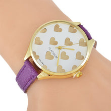 New Fashion Leather Strap Women Geneva Watch Hot Casual Love Heart Quartz Wristwatches