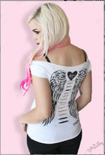 Angel Wings Back Cutout Sexy Casual Graphic T-shirt