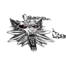 Men's Witcher Wizard Zinc Alloy Wolf Head Pendant Wild Hunt Medallion Retro Necklace