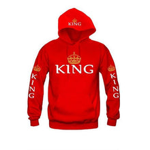 King and Queen Hoodies Multicolors Matching Cute Couples Tops (Size:S-XXL)