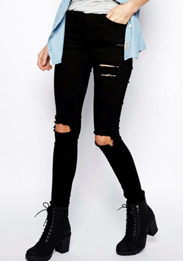 Black Slim Cut Out Pants Ripped Jeans