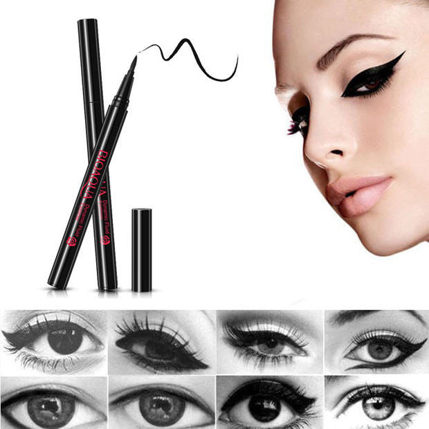 2PCS Black Liquid Eyeliner Long-lasting Waterproof Eye Liner Pencil Pen Makeup Cosmetic Tools