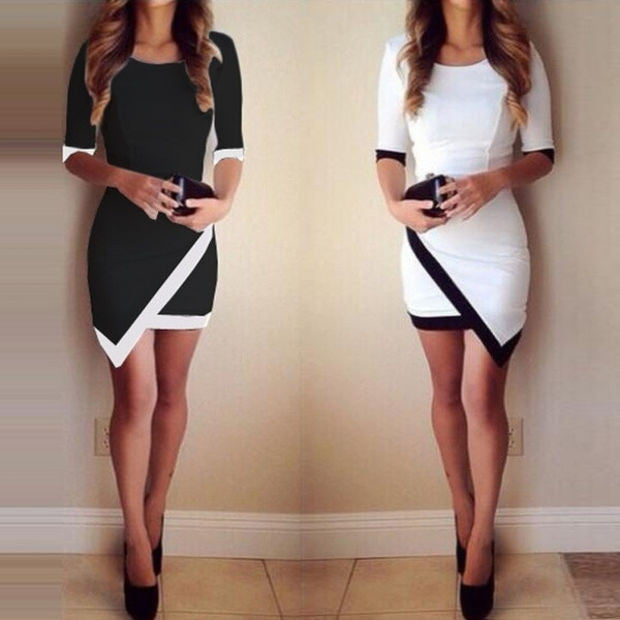 Women Fashion Half Sleeve Ladies Asymmetric Casual Dress White & Black Patchwork Elegant Dresses Bodycon Pencil Short Mini Dress ffp