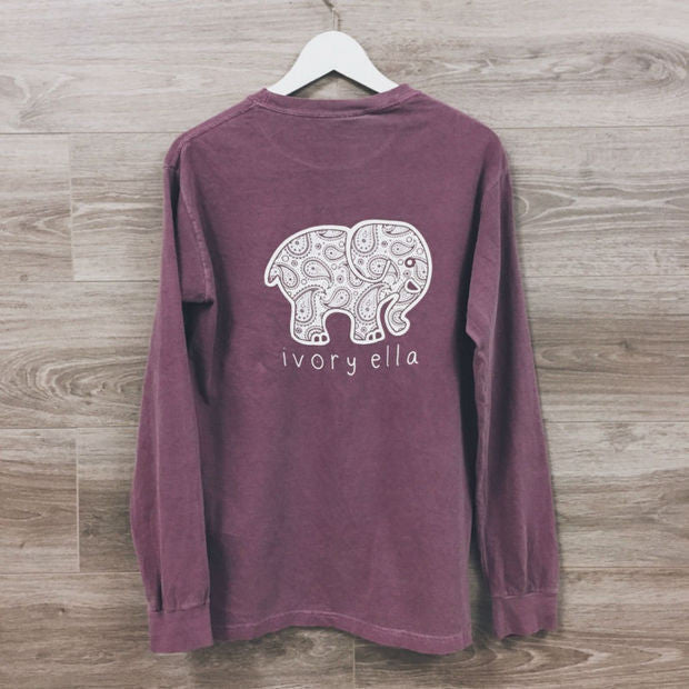 2016 Fashion Women Popular Ivory Ella Cartoon Elephant Printed Floral Printed Long Sleeve Top T-Shirt