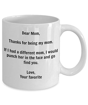 Funny Mom Gift - I'd Punch Another Mom In The Face Coffee Mug - Gag Gift Cup From Your Favorite Child + Sticker: Kitchen & Dining