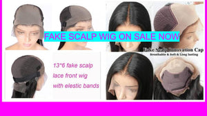 NEW FAKE SCALP WIG WITH BLACK ADJUSTABLE BAND 100% BRAZILIAN HAIR 150% DENSITY PRE- PLUCKED BABY HAIR