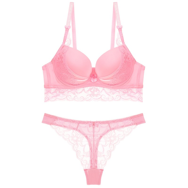 Sexy Push Up Thong Set lady push up bra Lace hollow out bralette underwear panty set intimates  Women bra brief set