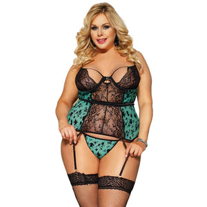 Sexy Plus Size Lingerie Women Erotic Transparent Lace Floral Babydoll Disfraz With Garter Sexy Clothes