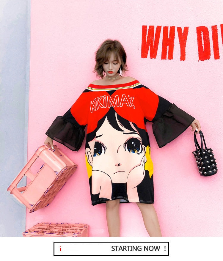 Fashion Cartoon Large Print dresses with flare sleeve women chic dresses