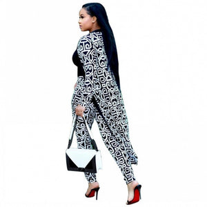 2019 Beautiful Elastic Blazin Pants and decorated cape set, robe long shirt Rock Style Dashiki Pants Suit For Lady/women coat and leggings 2pcs/set