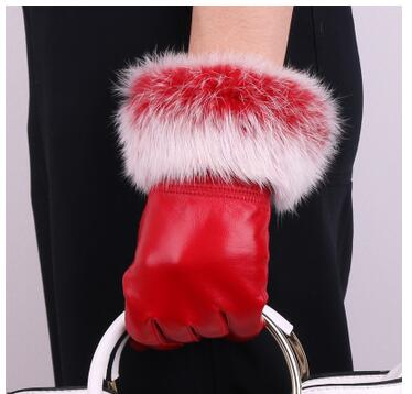 Genuine Leather Black Sheepskin Women Leather Gloves Warm Rabbit Fur Mittens
