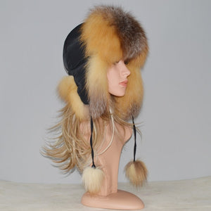 2020 Hot Russian Natural Real Fox Fur Hat Women Fox Fur Bomber Hats Warm Genuine Real Fox Fur Cap
