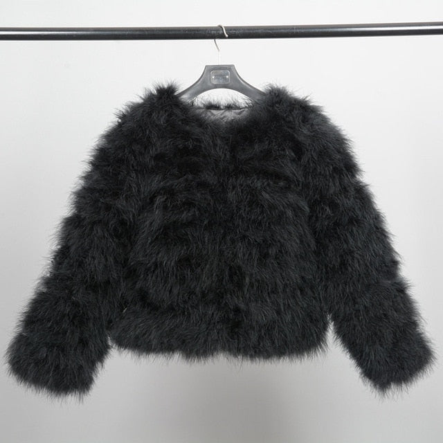 Women Real Ostrich Fur Jackets Winter Fashion Fur Coats Natural Feather Fluffy Outerwear