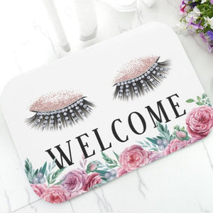 Rose Gold Trendy Glitter EyeLash Welcome Door Mat Home Decor Beauty Rug Carpet Sparkly Makeup Rubber Doormat Rug Carpet